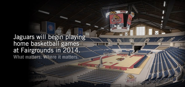 Jaguars to begin playing home basketball game at Fairgrounds Coliseum in 2014