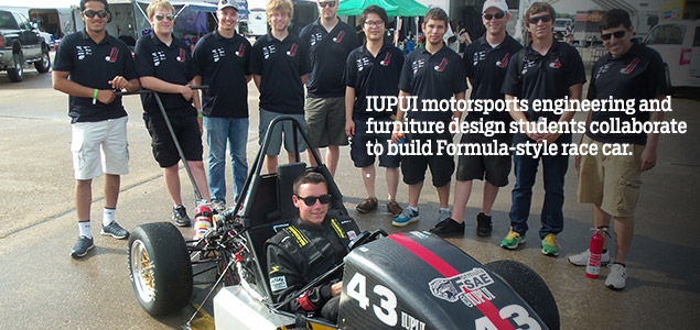 IUPUI motorsports engineering and furniture design students collaborate to build Formula-style race car.