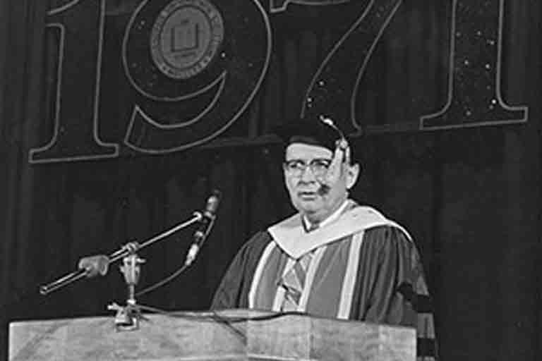 Maynard Hine at the first IUPUI commencement ceremony in 1971