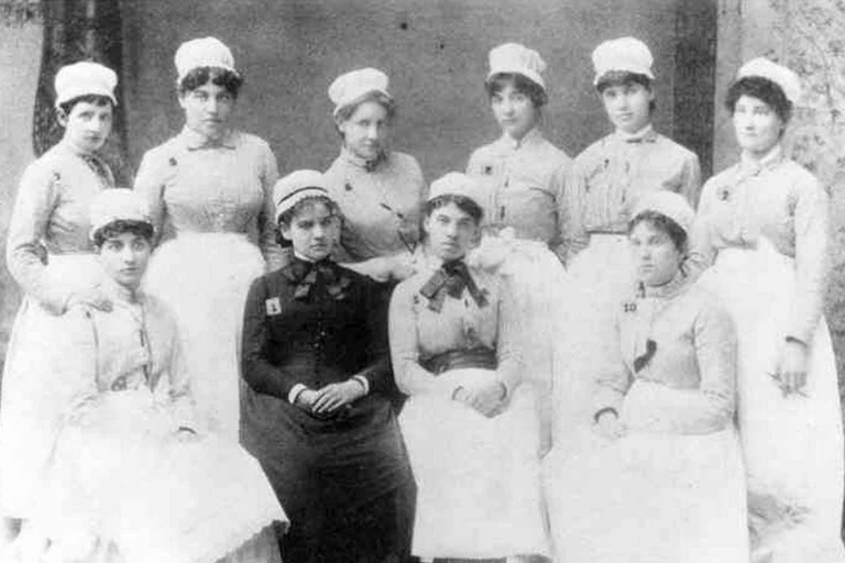 An archival image of student nurses in 1885
