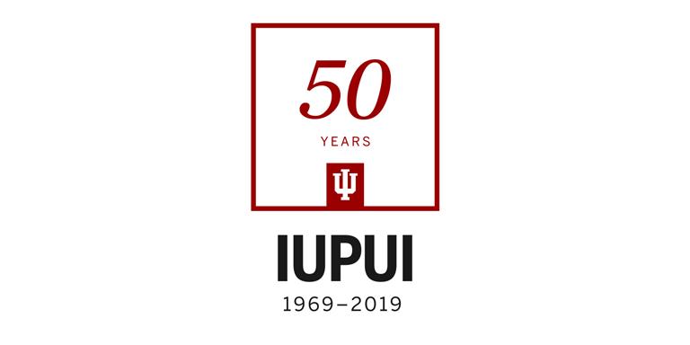 IUPUI 50th Anniversary logo. IUPUI 1969-2019