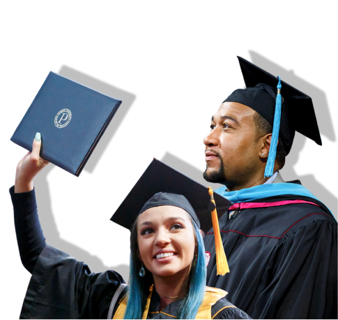 Two students in commencement