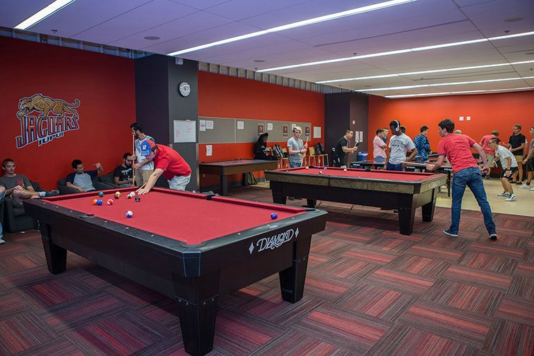 Pool tables in the game room at the IUPUI Campus Center.