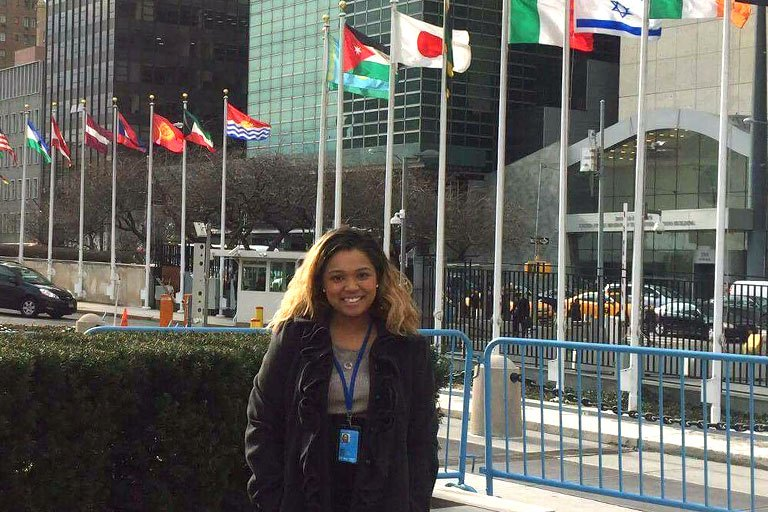 Vannary Kong in front of the U.N. in New York.