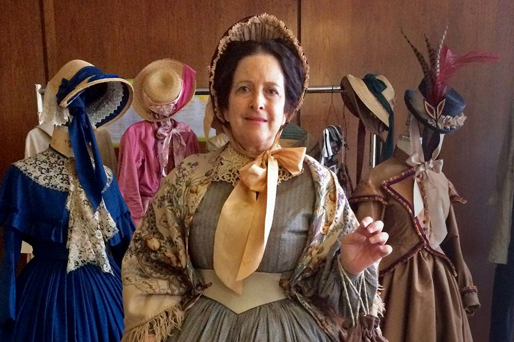 Prof. Jane Schultz in period costume on the set of Mercy Street.