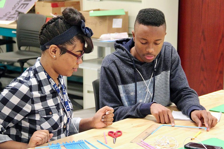 Minority Engineering Advancement Program summer campers Keelicia McKinstry and Myles Chapman