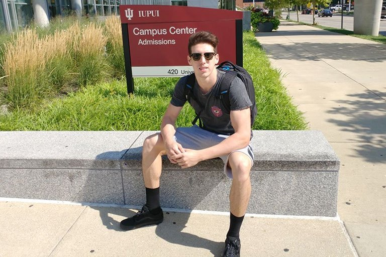 IUPUI student Nic Frimas on campus.