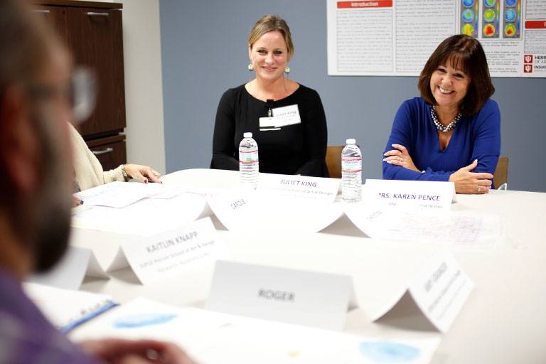 Karen Pence meets with therapy patients.