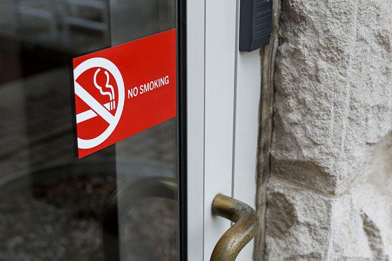 No Smoking sign on a door