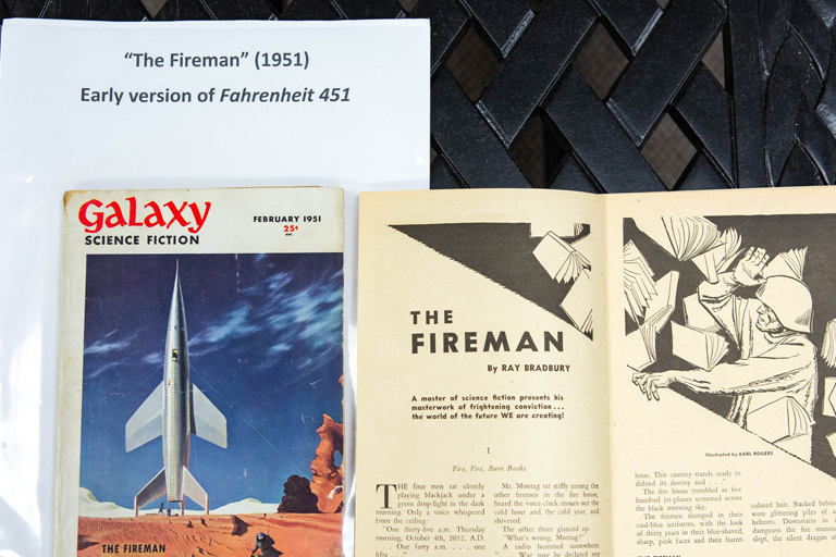 Cover of Galaxy Science Fiction magazine and a page showing an excerpt from The Fireman (1951), an early version of Fahrenheit 451.