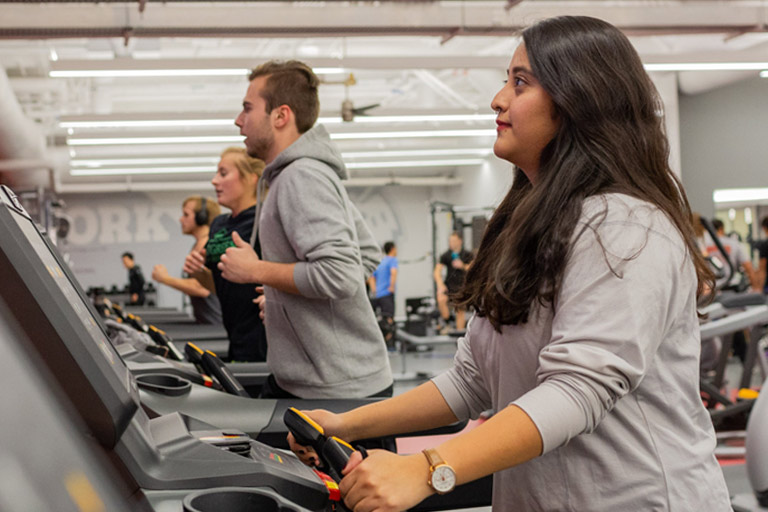Students work out at the fitness center.