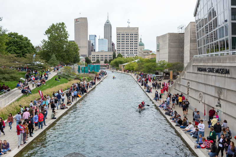 Students gather around the Canal for the IUPUI Regatta.