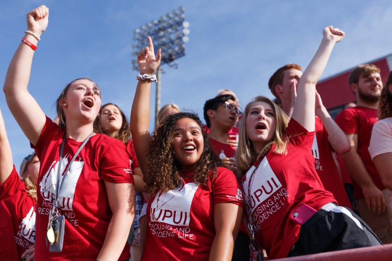 Students cheer for weeks of welcome activities.