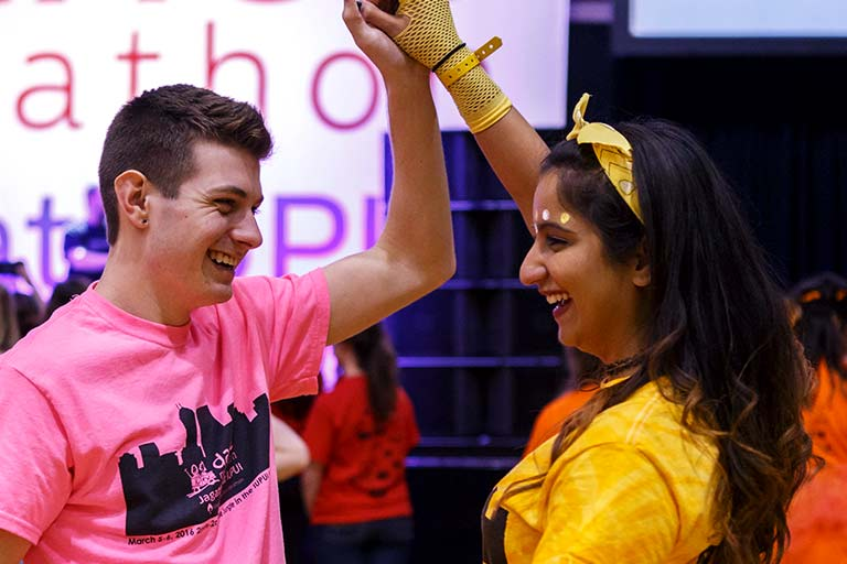 Two students dance while attending IUPUI Jagathon